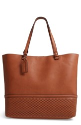 Sole Society Oversize Faux Leather Tote Brown Cognac