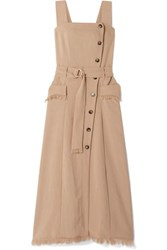 Nanushka Moun Belted Frayed Woven Midi Dress Taupe