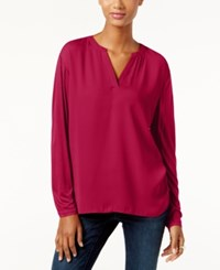 Inc International Concepts Dolman Sleeve Split Neck Top Only At Macy's Real Red