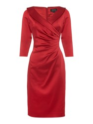 Tahari By Arthur S. Levine Asl Long Sleeved Knee Length Dress Red