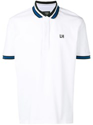 Les Hommes Contrast Collar Polo Shirt White