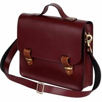 N'damus London Lombard Oxblood Leather Three Way Briefcase Red
