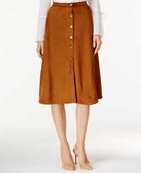 Ny Collection Faux Suede A Line Skirt Camel