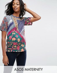 Asos Maternity T Shirt In Cut About Scarf Print Multi
