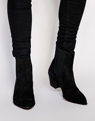 Asos Cuban Boots In Suede Black