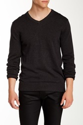 Perry Ellis Double V Neck Sweater Gray