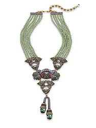 Heidi Daus Brilliant Abundance Faux Pearl And Crystal Statement Necklace Green Multi