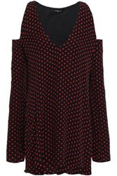 Amiri Woman Cold Shoulder Polka Dot Silk Crepe Mini Dress Black