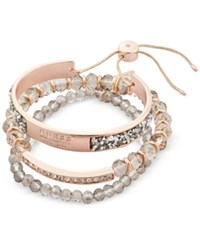 Guess Rose Gold Tone 3 Pc. Set Crystal And Bead Bracelets