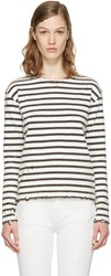 R 13 R13 White Breton Stripe Long Sleeve T Shirt