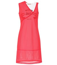 Helmut Lang Mesh And Cotton Minidress Red