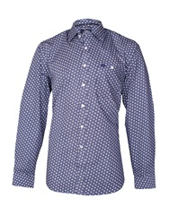 Raging Bull Dobby Polka Dot Long Sleeve Classic Collar Shirt Blue