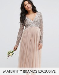 Maya Maternity Long Sleeve Midi Dress With Delicate Sequin And Tulle Skirt Mink Grey