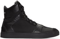 Helmut Lang Black Nylon Heritage High Top Sneakers