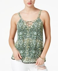 Guess Leona Sleeveless Lace Up Tank Top Sand Snake Sea Foam Green