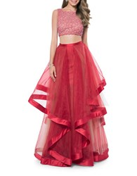 Glamour By Terani Couture Two Piece Embellished Prom Dress Set Red