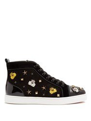 Christian Louboutin Loubacademia Embellished High Top Suede Trainers Black Multi