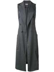 Alberto Biani Sleeveless Fitted Coat Women Spandex Elastane Virgin Wool 44 Grey