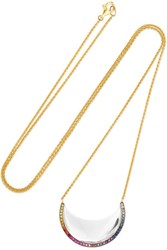 Noor Fares Chandra Crescent 18 Karat Gray Gold Multi Stone Necklace One Size