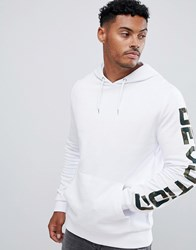 Asos Design Hoodie In White With Camo Text Print