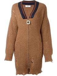 Aviu Distressed Cardi Coat Brown