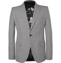 Alexander Mcqueen Slim Fit Houndstooth Wool Mohair And Silk Blend Blazer Cream