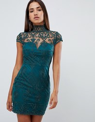 Love Triangle All Over Cut Work Lace High Neck Mini Dress In Green Red