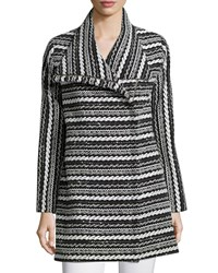 Shoshanna Long Sleeve Cable Knit Topper Jacket Black White