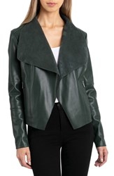 Bagatelle Drape Faux Leather And Faux Suede Jacket Emerald