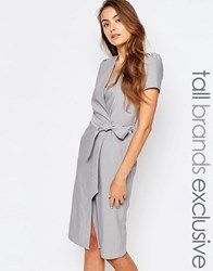 Alter Tall Short Sleeve Wrap Front Dress With Tie Waist And Button Detail Light Grey
