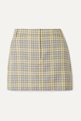 Tibi Checked Woven Mini Skirt Green