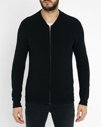 Ikks Black Dual Fabric Zipped Bomber Jacket