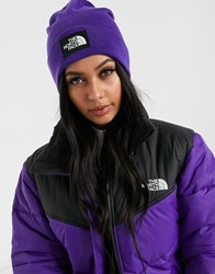 The North Face Dock Worker Recycled Beanie In Purple Black