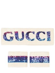 Gucci Logo Sequins Headband And Cuffs White