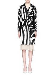 Diane Von Furstenberg 'Libby' Zebra Print Wool Silk Trench Coat Multi Colour