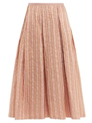Thierry Colson Odette Striped Midi Skirt Pink