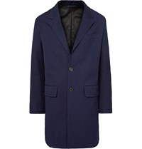 Ami Alexandre Mattiussi Stretch Cotton Drill Overcoat Navy