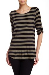 Cable And Gauge Striped Hi Lo Tee Black