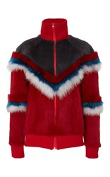 Mr And Mrs Italy Chevron Fur Jacket Red