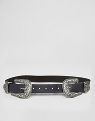 Asos Double Buckle Wide Leather Western Belt Black