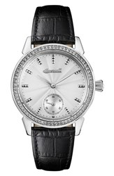 Ingersoll Watches Women's Crystal Accent Leather Strap Watch 34Mm Black White Silver