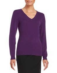 Lord And Taylor Basic V Neck Cashmere Sweater Mulberry Heather