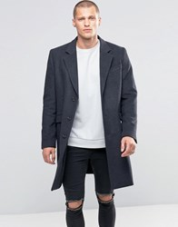 Asos Wool Mix Overcoat In Charcoal Marl Charcoal Grey