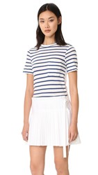 Sea T Shirt Pleated Combo Dress White Blue Stripe