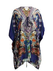Camilla Darling's Destiny Print Cropped Silk Kaftan Navy Multi