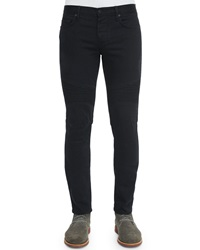 Vince Stretch Resin Coated Moto Jeans Black