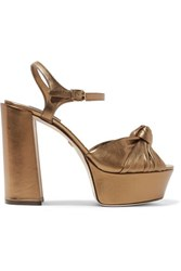 Dolce And Gabbana Knotted Metallic Leather Platform Sandals Gold