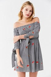 Urban Outfitters Uo Embroidered Gingham Off The Shoulder Dress Black Multi