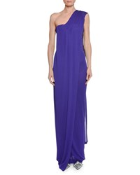 Tom Ford One Shoulder Bustier Gown With Scarf Detail Purple