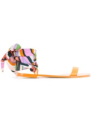 Emilio Pucci Printed Ankle Sandals Women Calf Leather 36.5 Yellow Orange